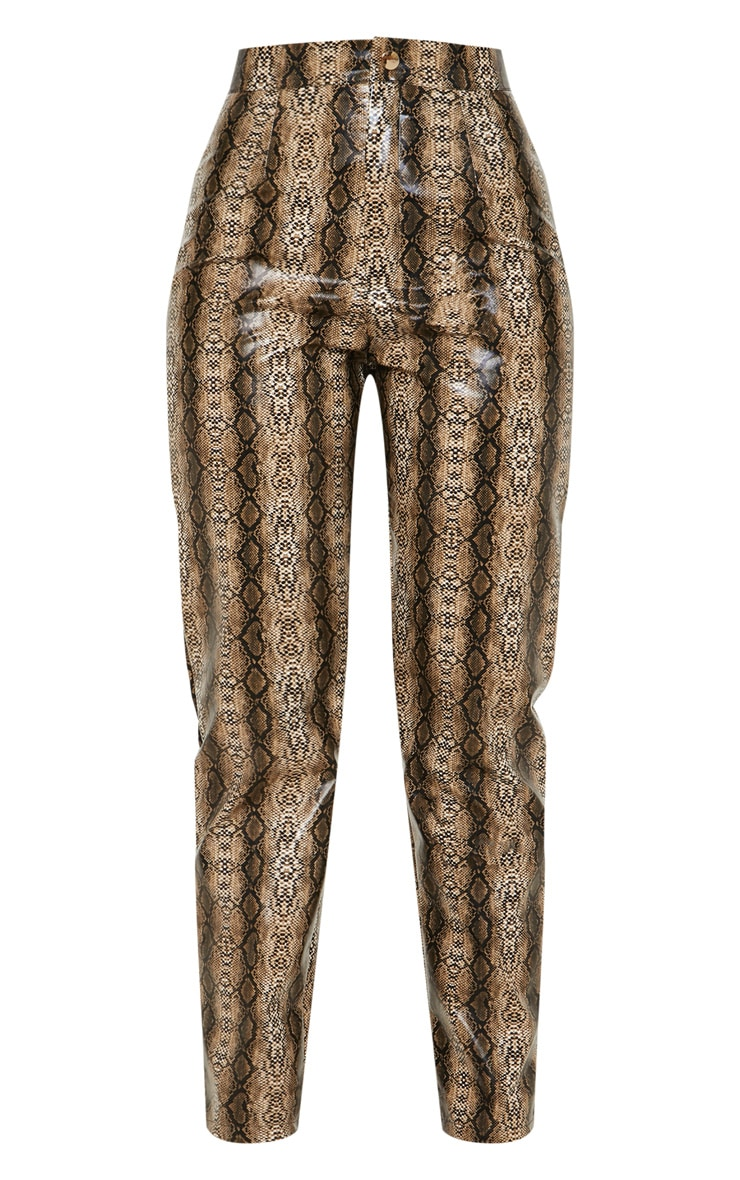 Brown Faux Leather Snake Print Slim Leg Trouser  3