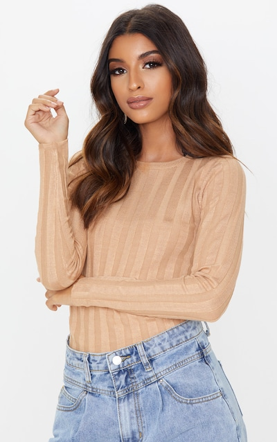 Camel Wide Knitted Rib Fitted Top