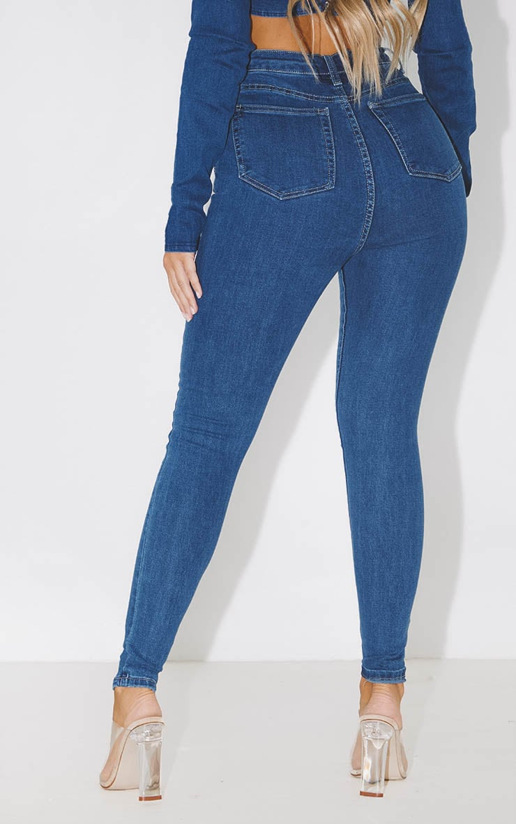 PRETTYLITTLETHING Mid Blue 5 Pocket Skinny Jean 4