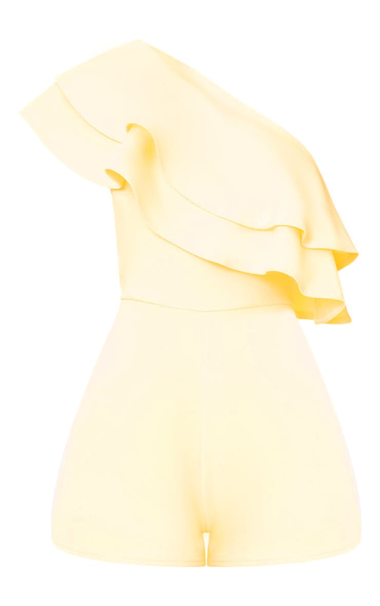 Yellow One Shoulder Frill Detail Playsuit 3
