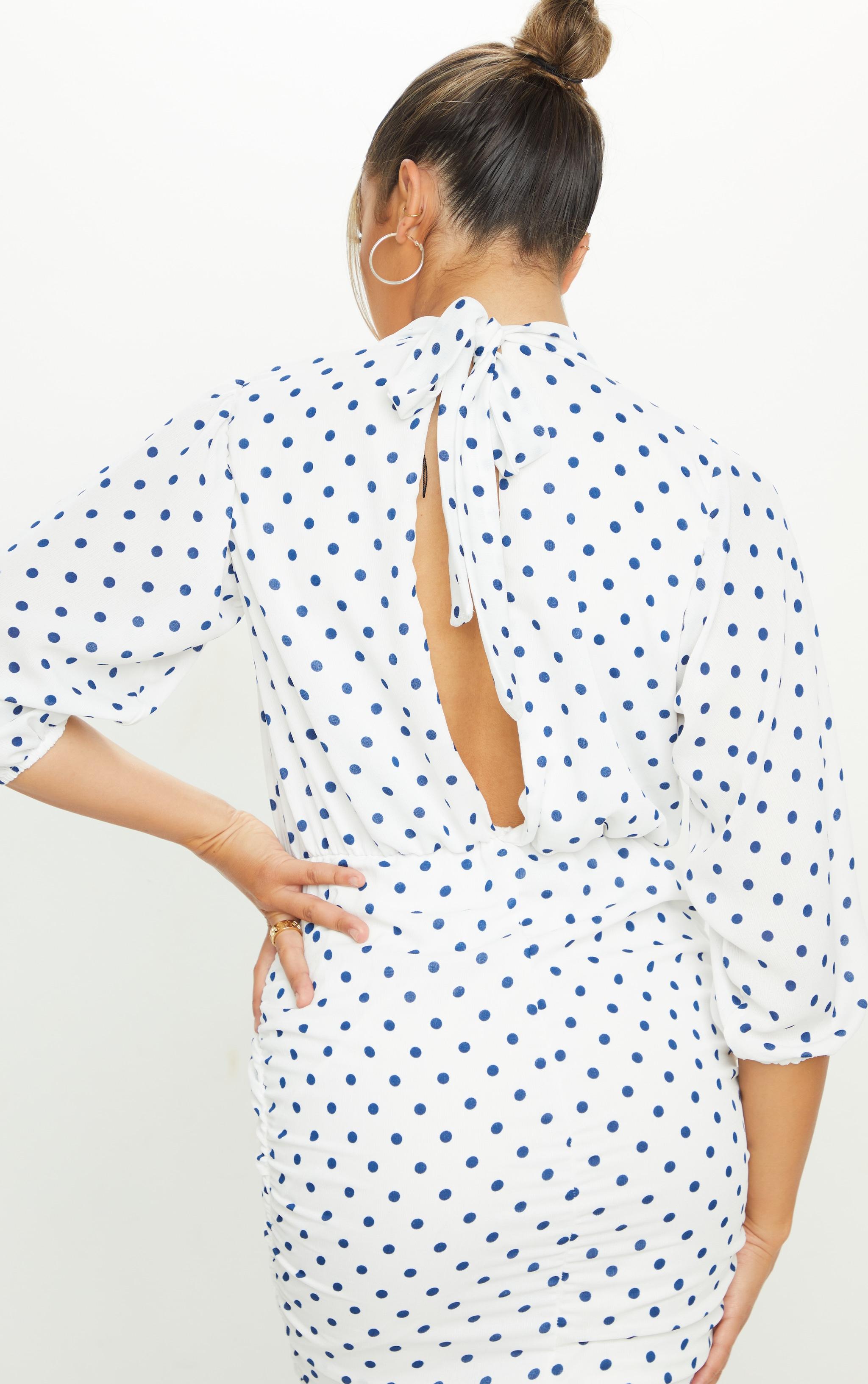 White Polka Dot Chiffon High Neck Ruched Midi Dress 4