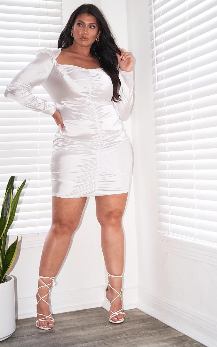 Plus White Satin Ruching Front Bodycon Dress 1