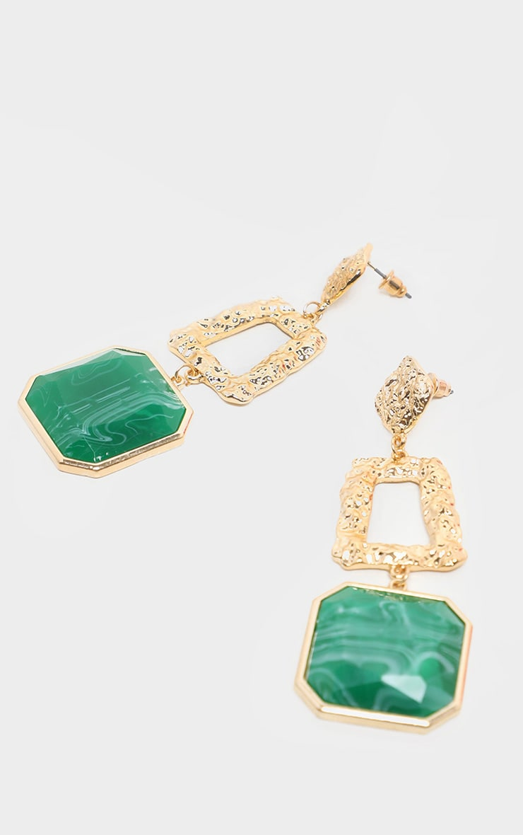 Green Square Stone Door Knocker Earrings 3