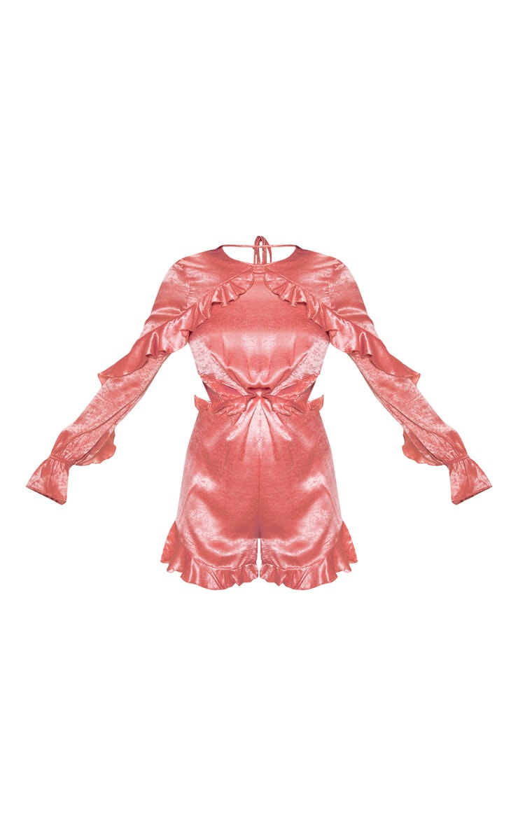 Pink Satin Ruffle Detail Long Sleeve Romper 3