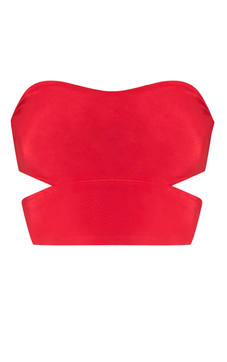 Denise Red Cut Out Side Slinky Bandeau 2