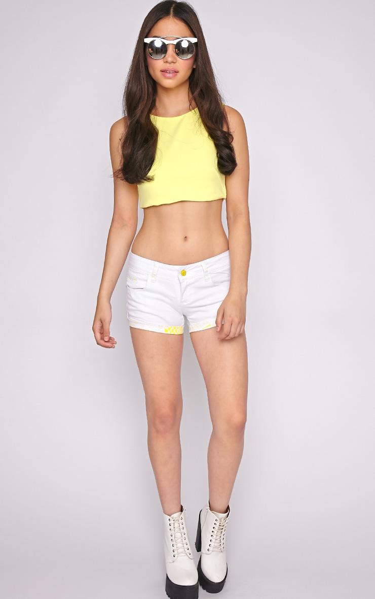 Hollie Yellow Trim Denim White Hotpant -XL 5
