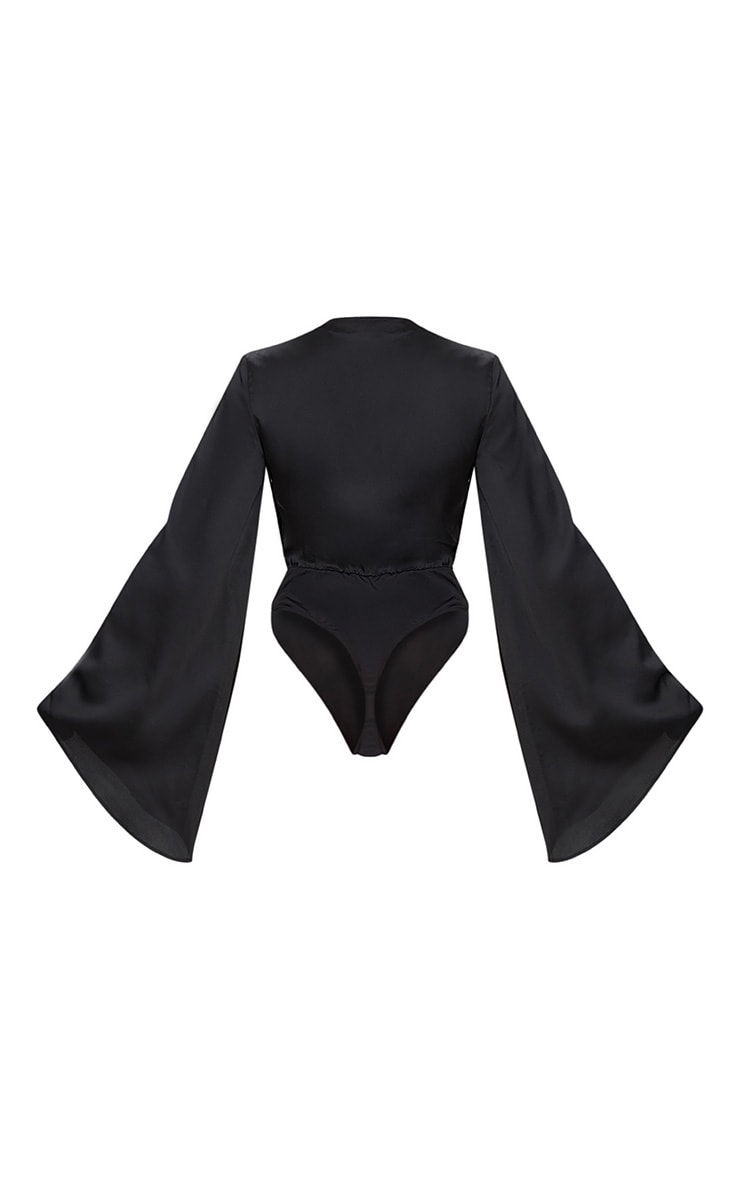 Black Satin Flare Sleeve Thong Bodysuit  4