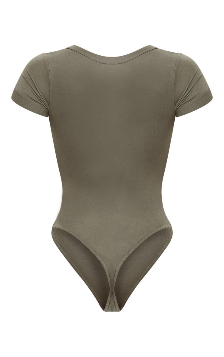 Shape Khaki Jersey V Neck Bodysuit 4