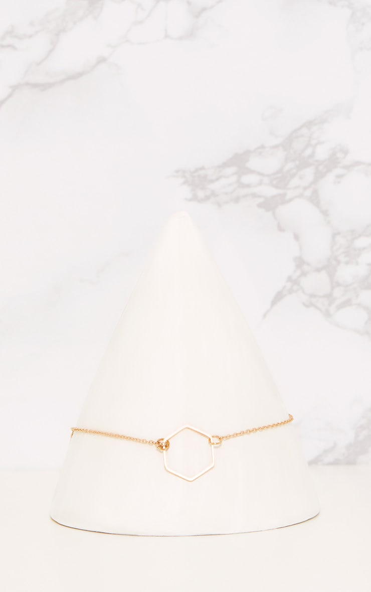 Adreanna Gold Delicate Hexagon Choker 2