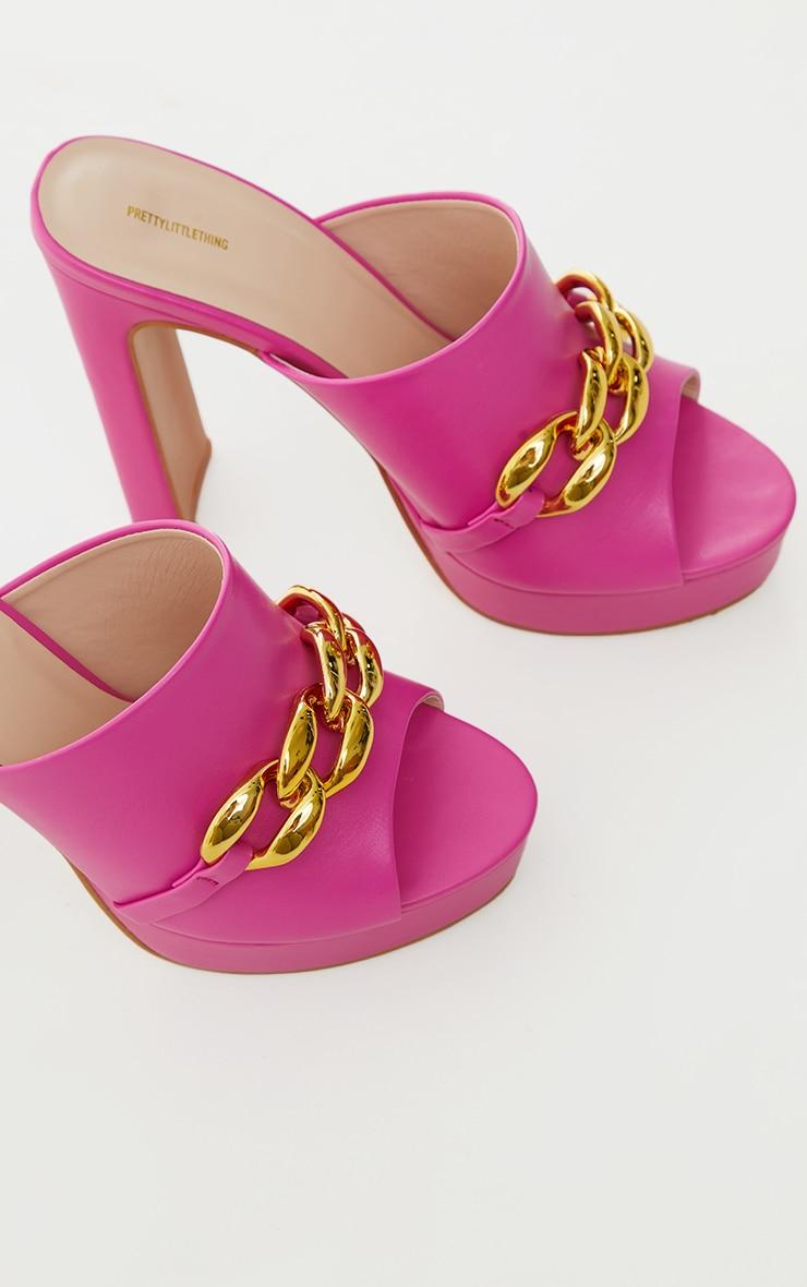 Pink PU Chain Detail Platform High Heeled Mules 4