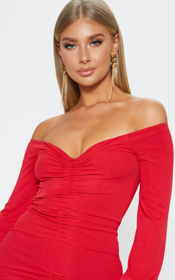 Red Ribbed Ruched Front Bardot Bodycon Dress 5