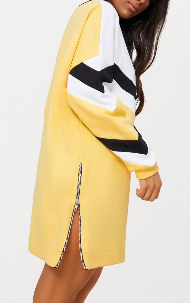 Lemon Chevron Oversized Jumper Dress 5