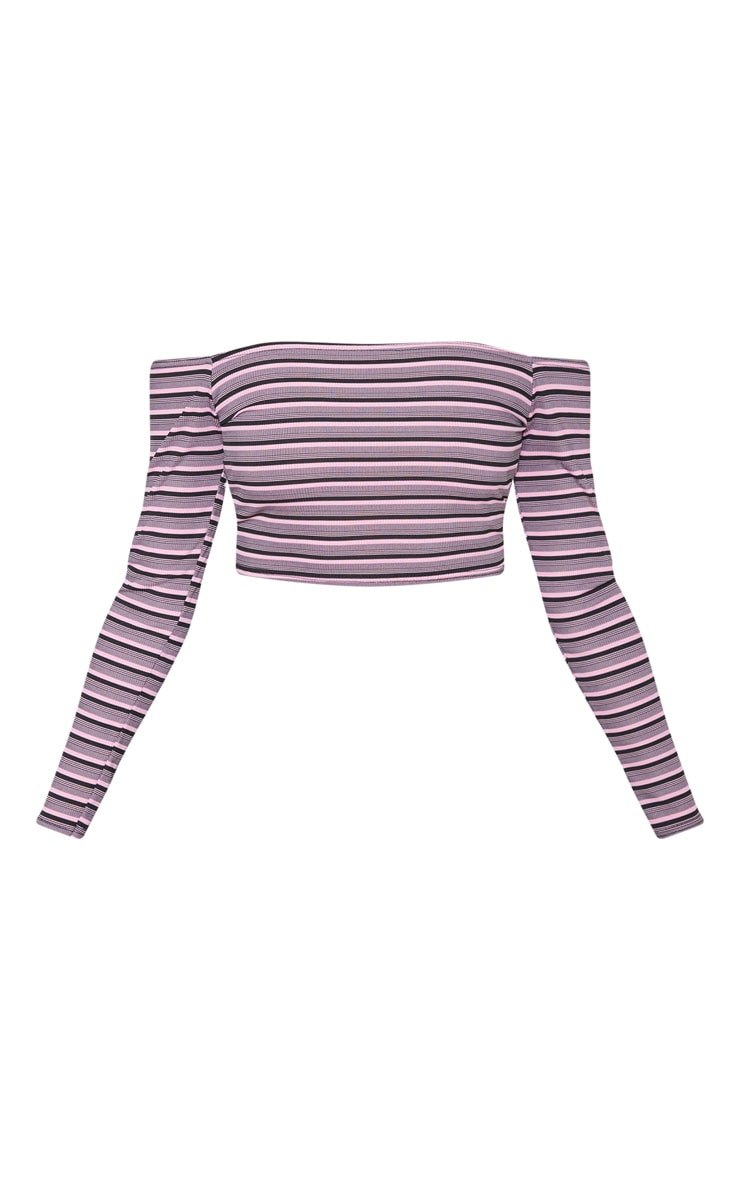 Pink Stripe Rib Bardot Top 3