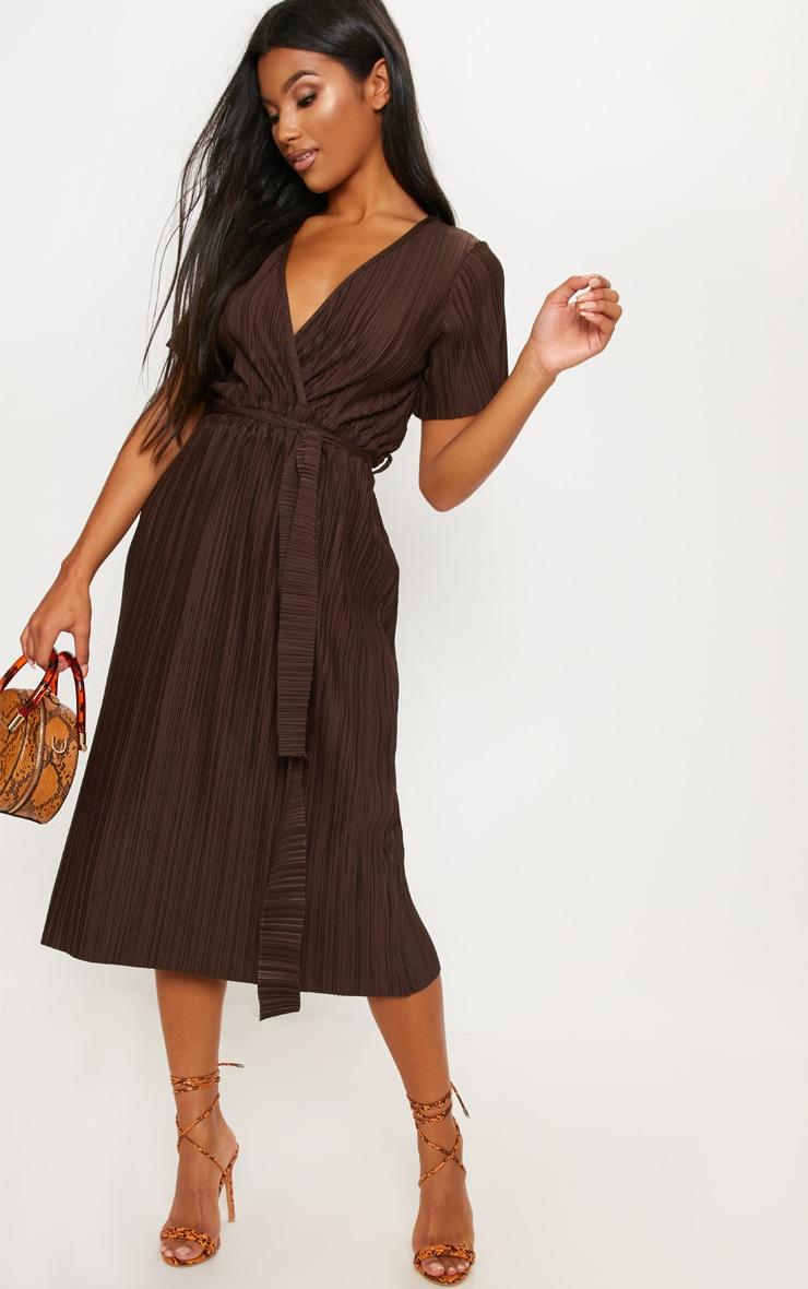Chocolate Pleated Midi Dress 4