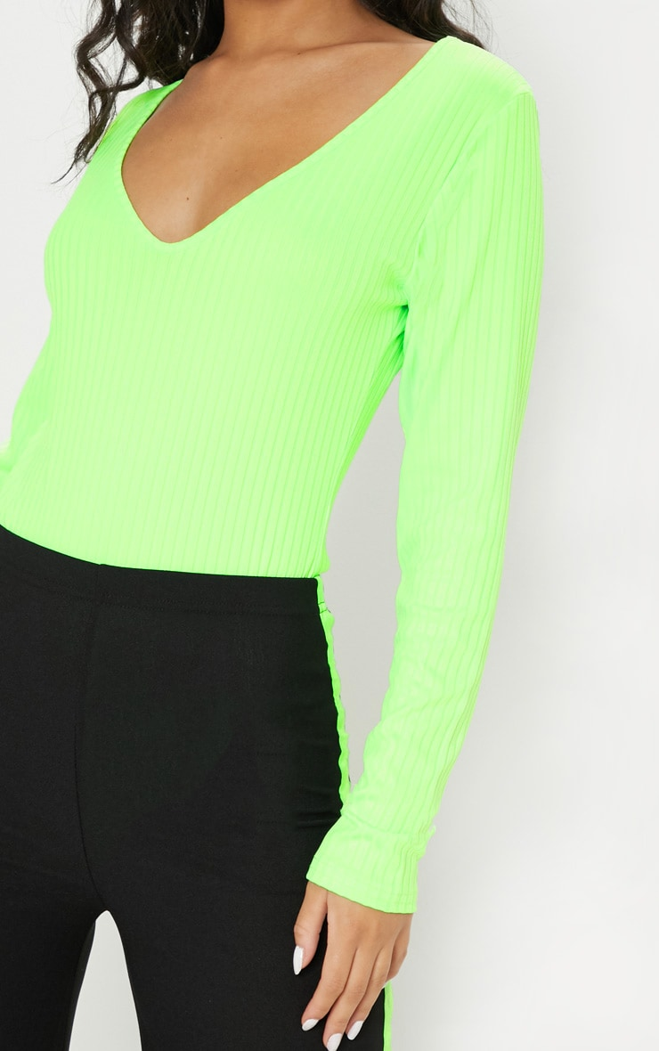 Neon Lime Rib Plunge Long Sleeve Bodysuit 6