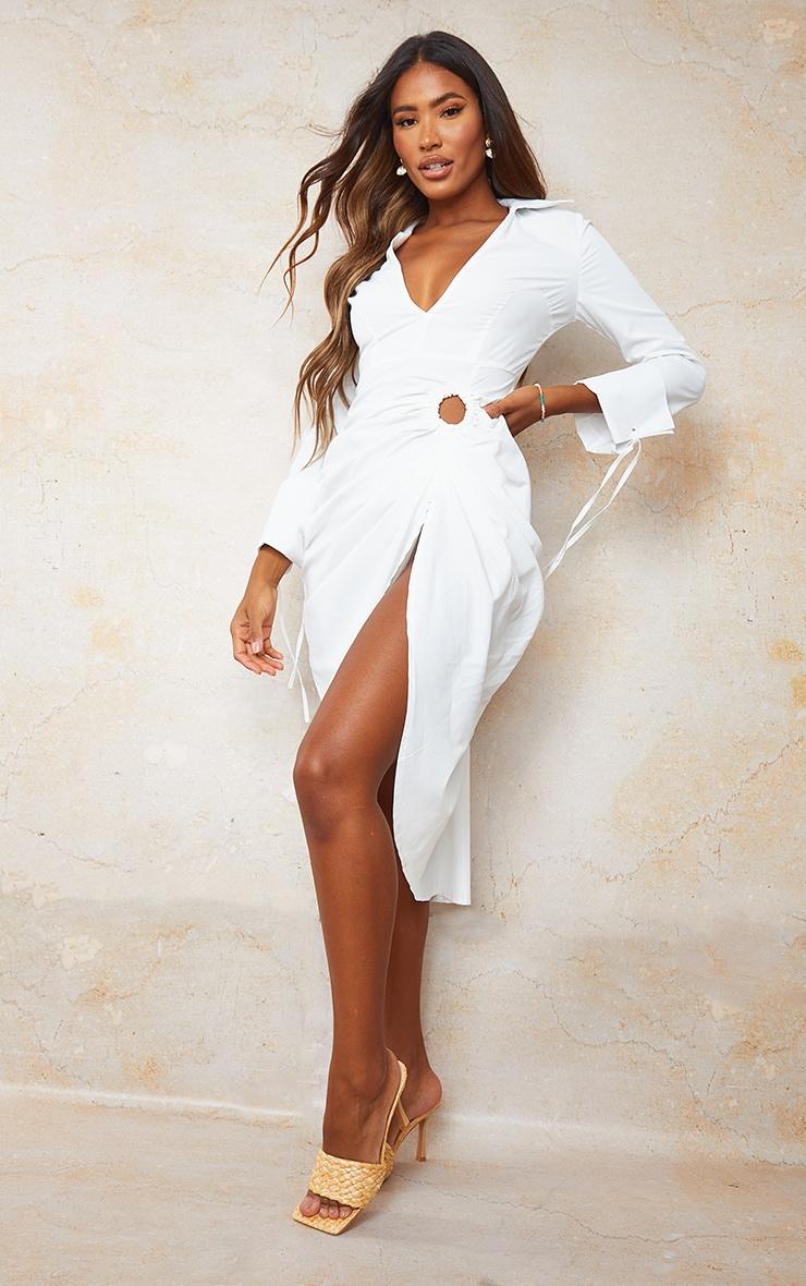 White Oversized Tie Cuff Ring Detail Midi Shirt Dress 3