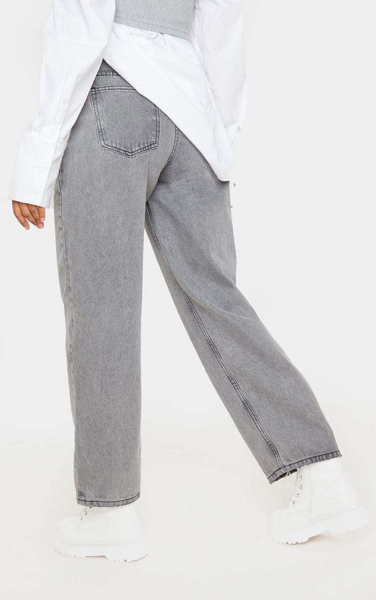 Washed Grey Baggy Low Rise Boyfriend Jeans 4