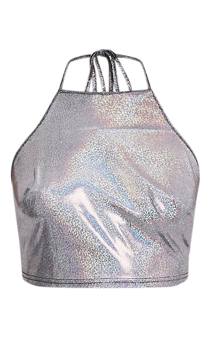 Emzie Silver Holographic Halterneck Crop Top 3
