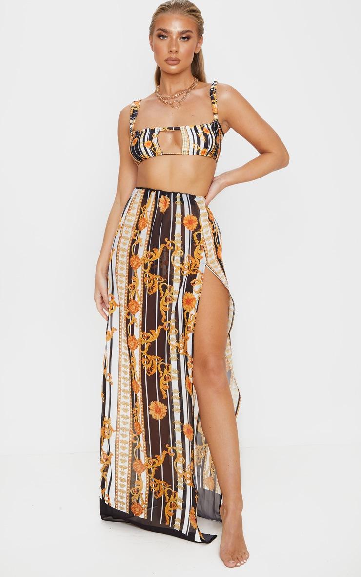 Gold Baroque Stripe Ruched Keyhole Cut Out Bikini Top 3