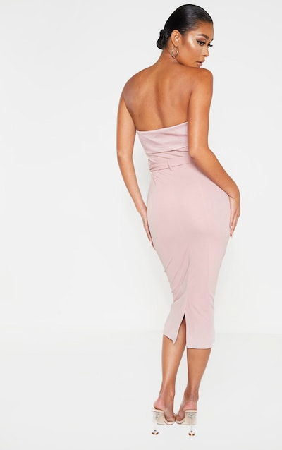 Dusty Pink Button Detail Belted Bandeau Midi Dress
