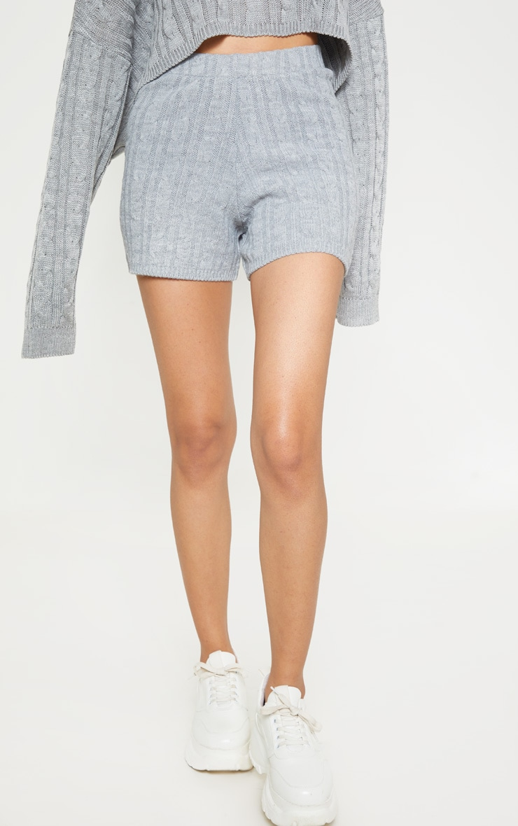 Grey Cable Knit Short 2