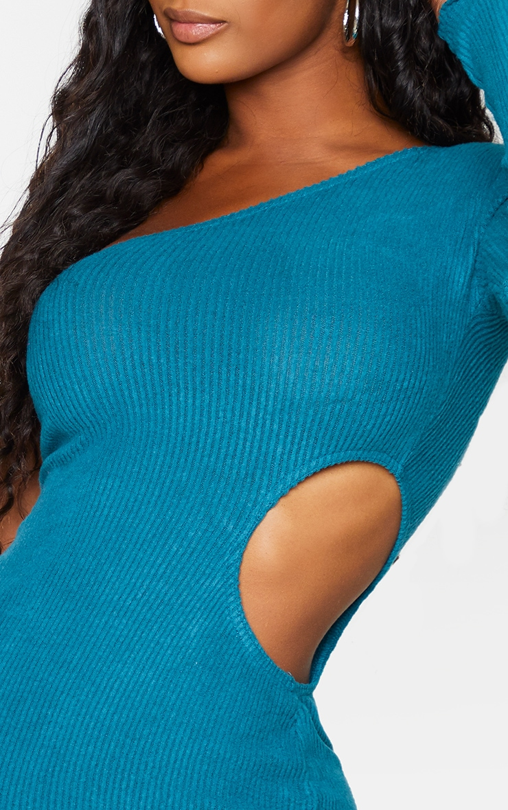 Shape Turquoise Brushed Rib One Shoulder Cut Out Bodycon Dress 4