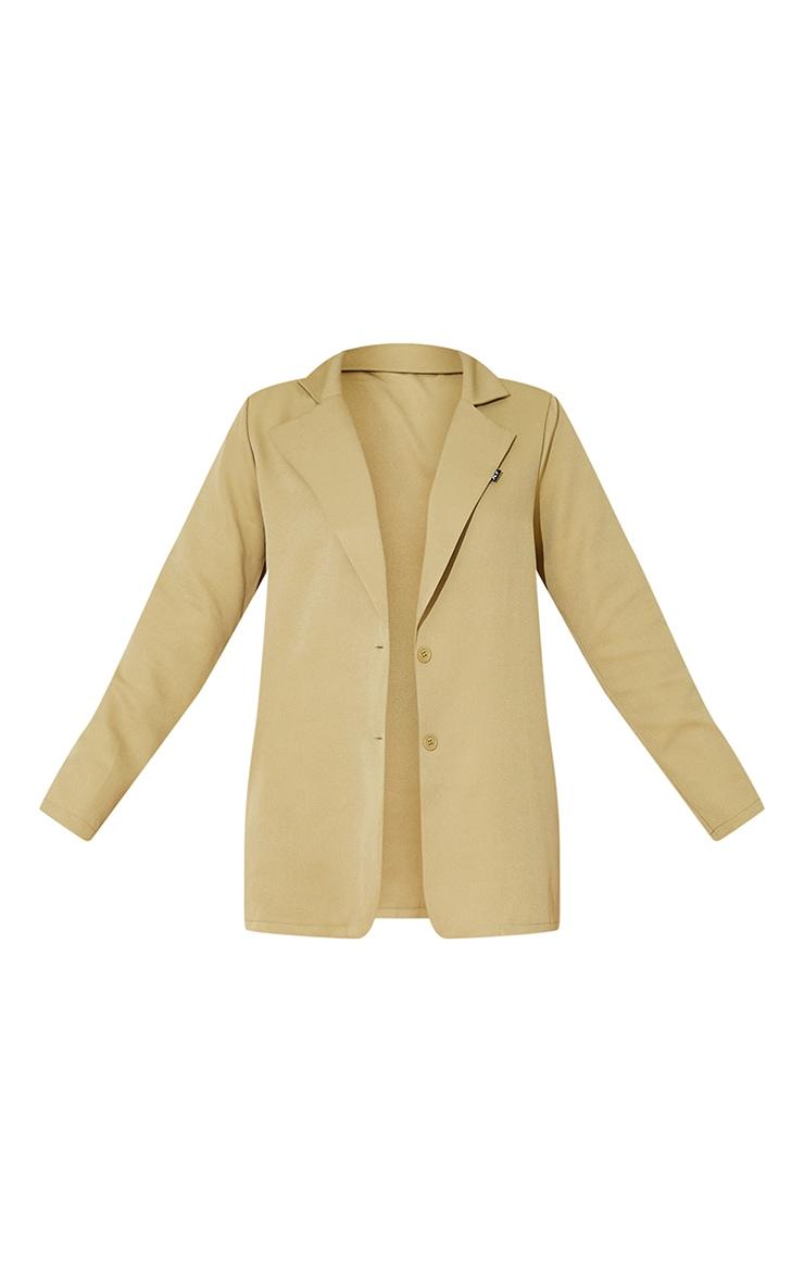 PRETTYLITTLETHING - Blazer oversize tissé kaki sauge à manches longues détail badge 5