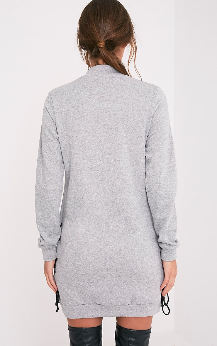 Irika robe pull grise à lacets 2