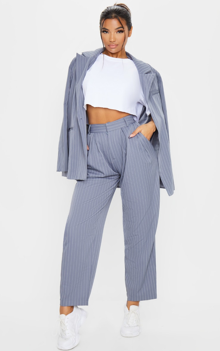 Charcoal Grey Pinstripe Woven High Waisted Cigarette Trousers 2