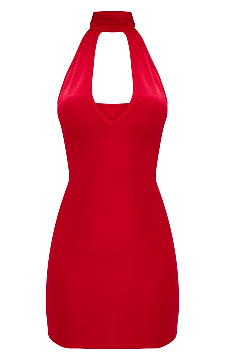 Red High Neck Plunge Front Bodycon Dress 3