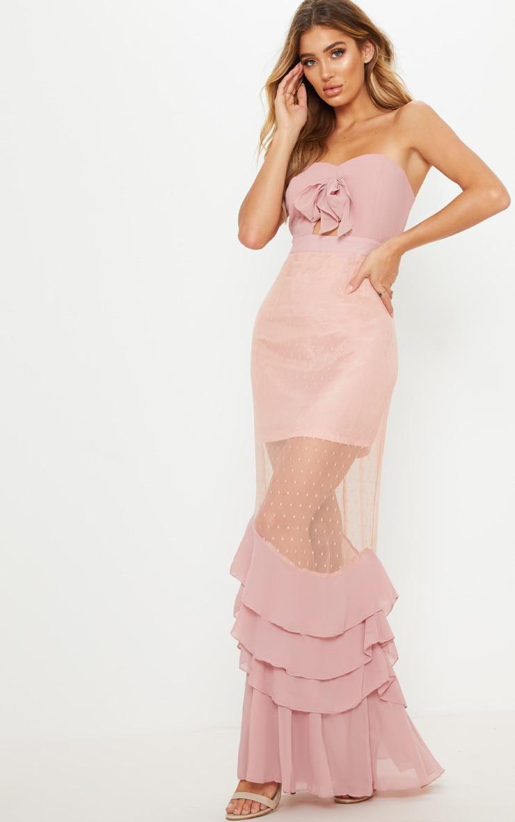 b0cf7dd008a Dusty Pink Lace Bandeau Frill Hem Maxi Dress image 1