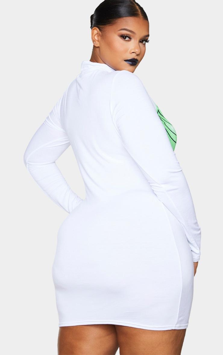 PLT Plus - Robe moulante blanche à imprimé squelette fluo 2