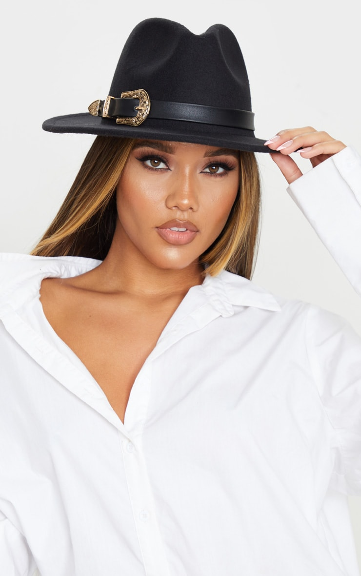 Black Western Buckle Trim Fedora Hat 1