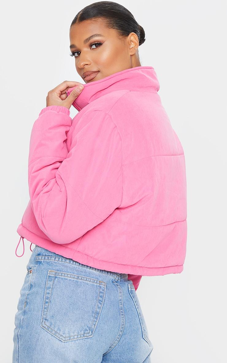 Pink Super Cropped Peach Skin Puffer 2