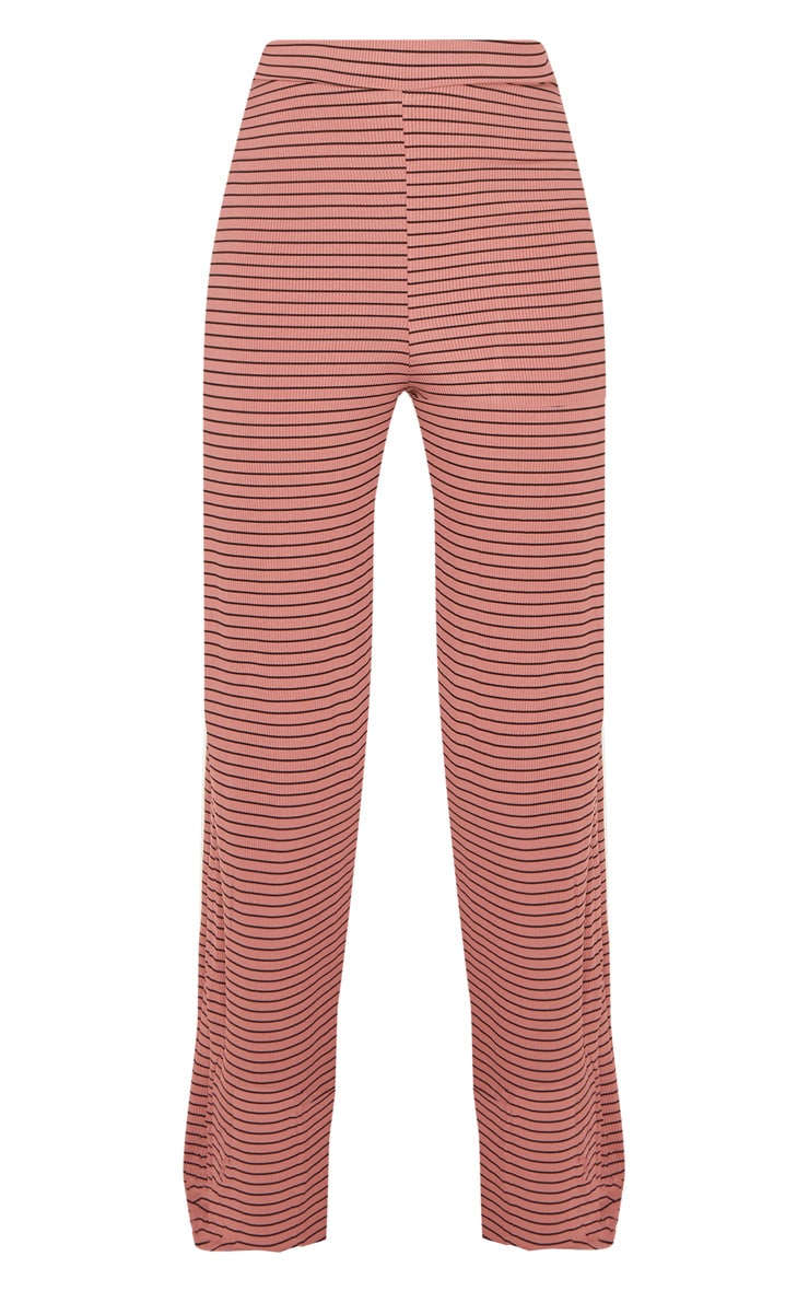 Pink Striped Knitted Wide Leg Trouser  3