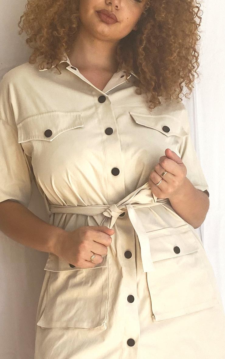 Plus Cream Utility Short Sleeved Shirt Dress 4