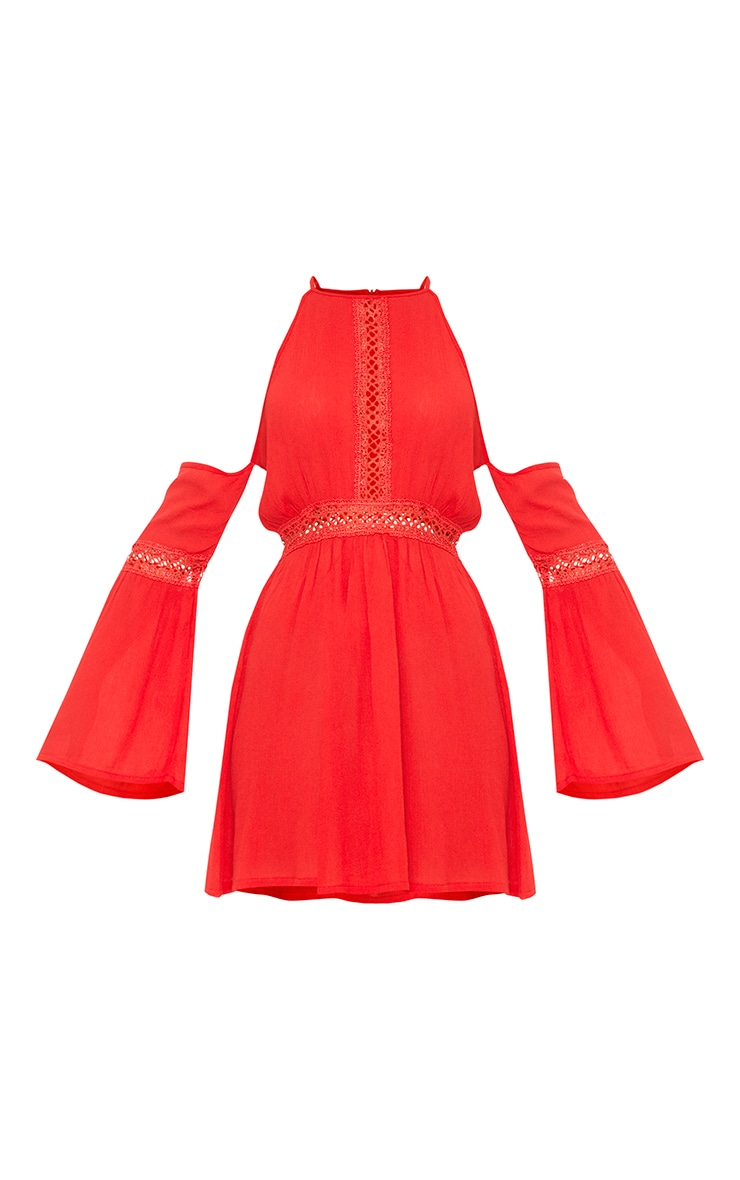 Red Cheesecloth Cold Shoulder Swing Dress  3