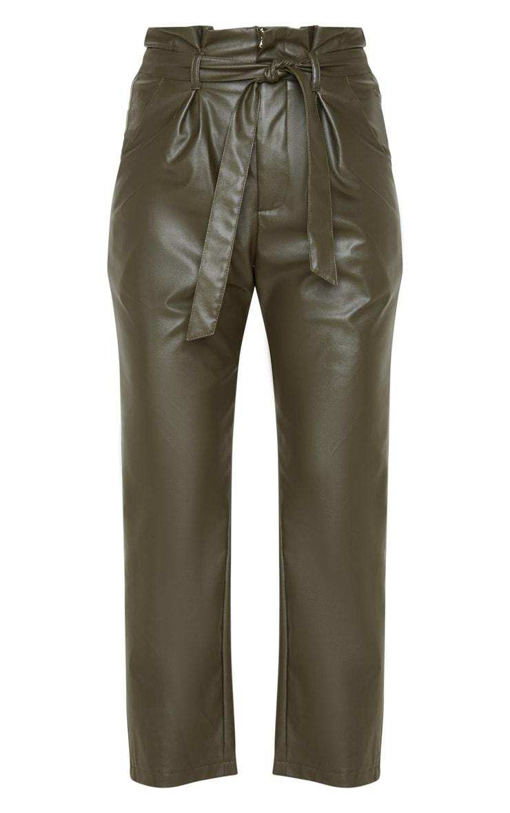 Khaki Tie Waist PU Pants 3