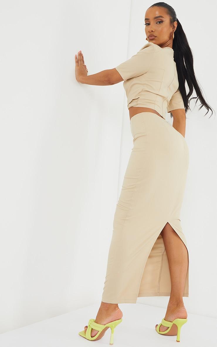 Stone Woven Split Back Maxi Skirt