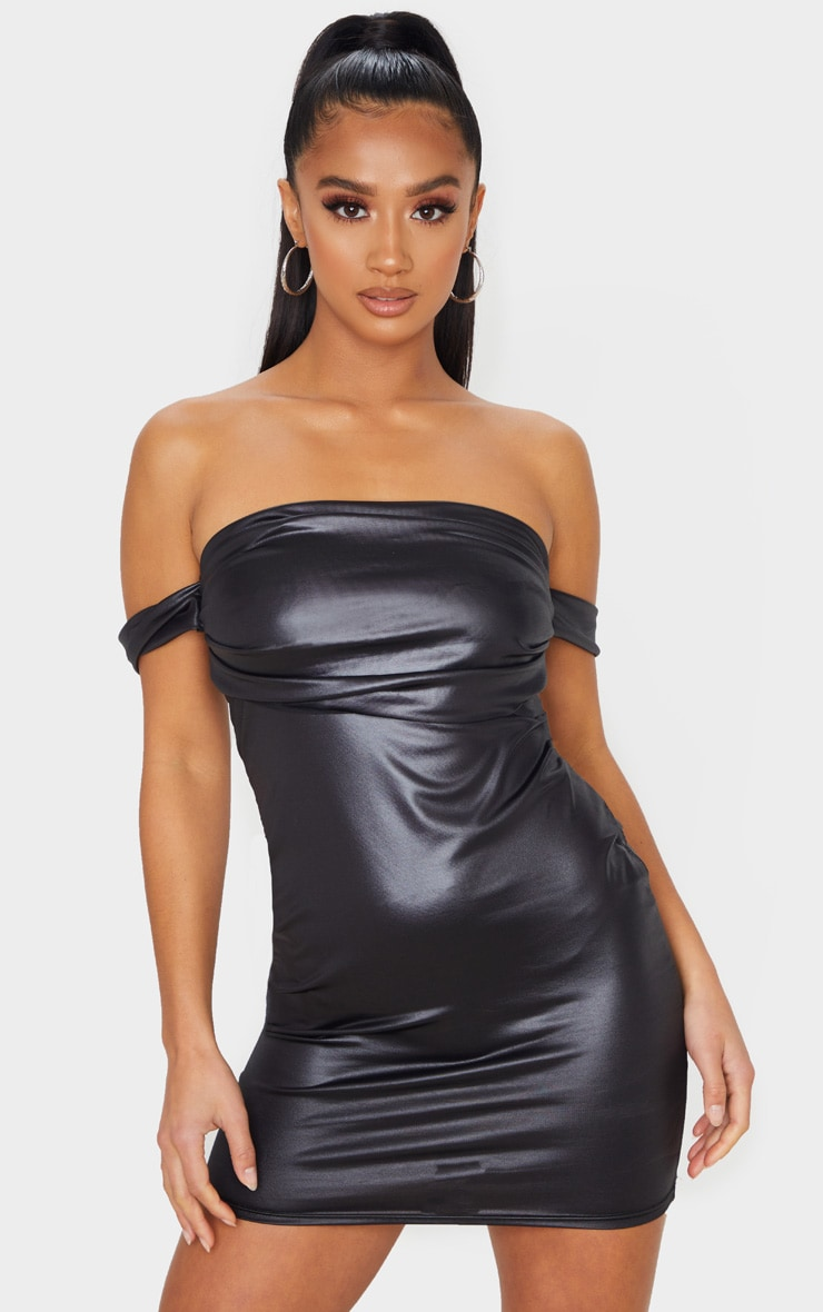 Petite Black Wet Look Mini Dress 1