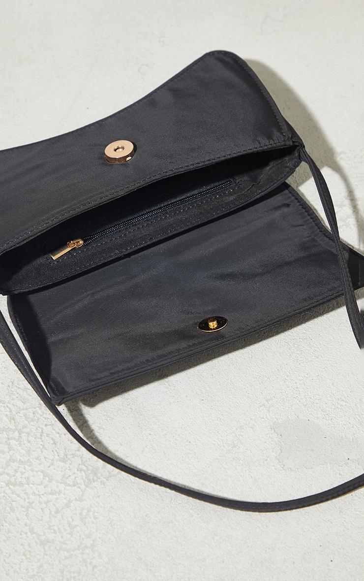 Black Nylon Flap Over Baguette Shoulder Bag 3