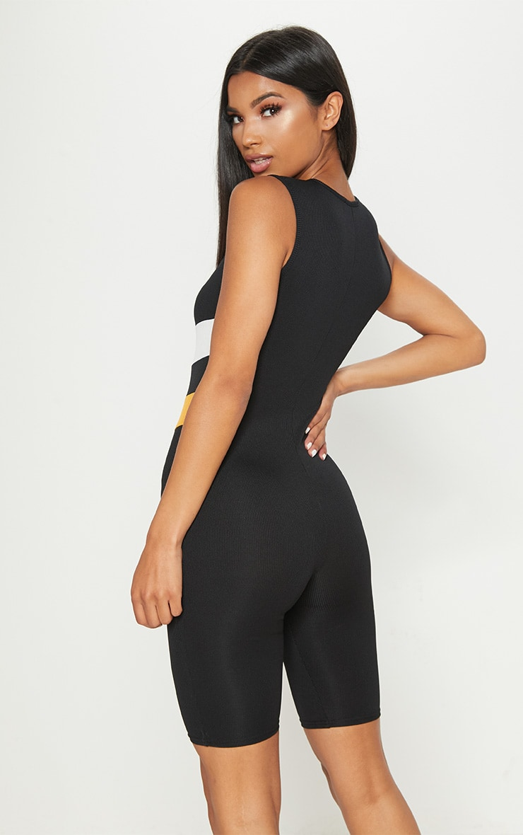Black Ribbed Chevron Unitard 2