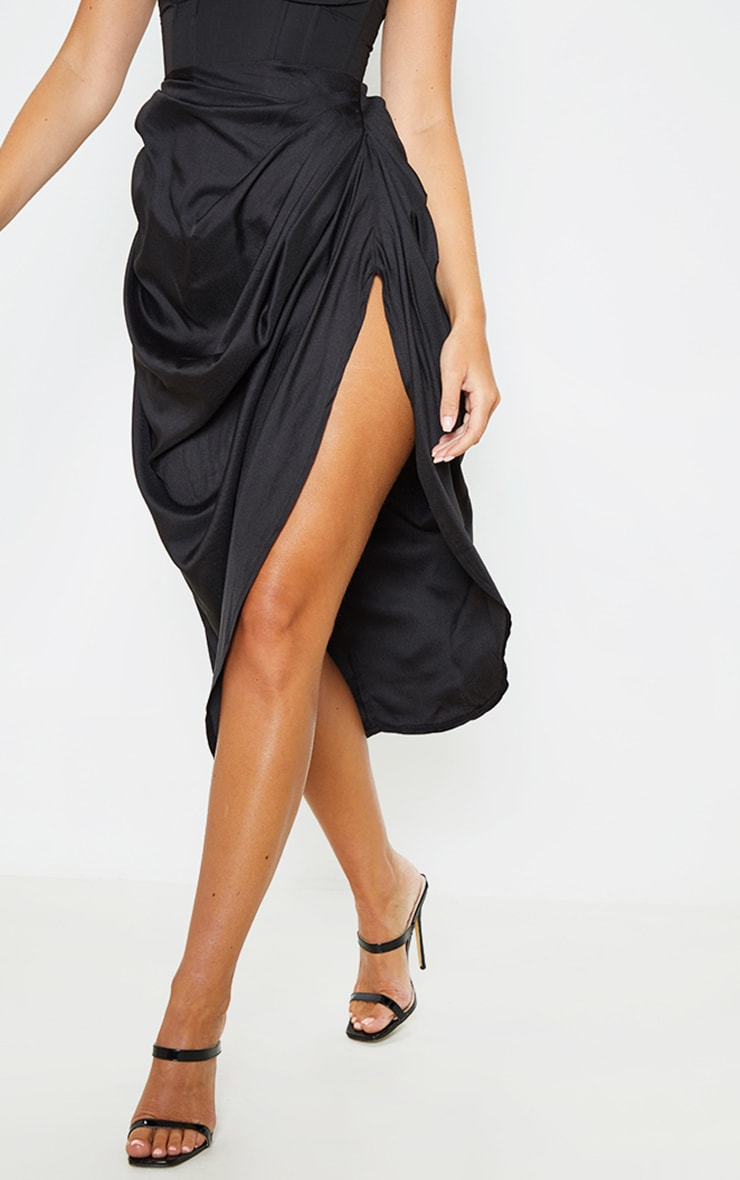 Black Ruched Side Midi Skirt 3