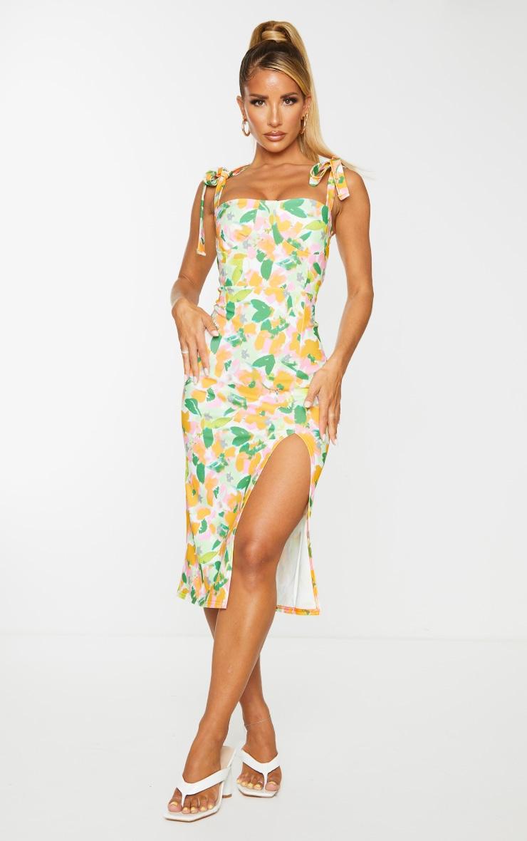 Multi Floral Print Tie Strap Cup Detail Midi Dress