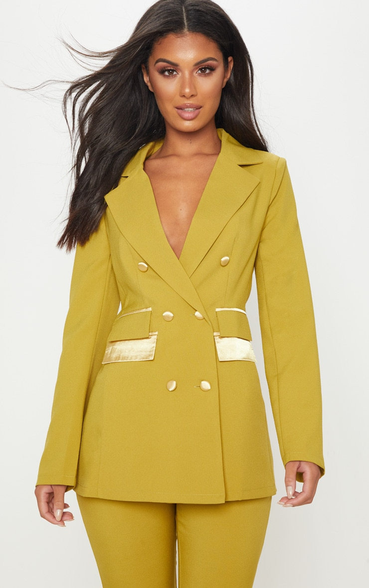 Pale Olive Triple Breasted Oversized Blazer