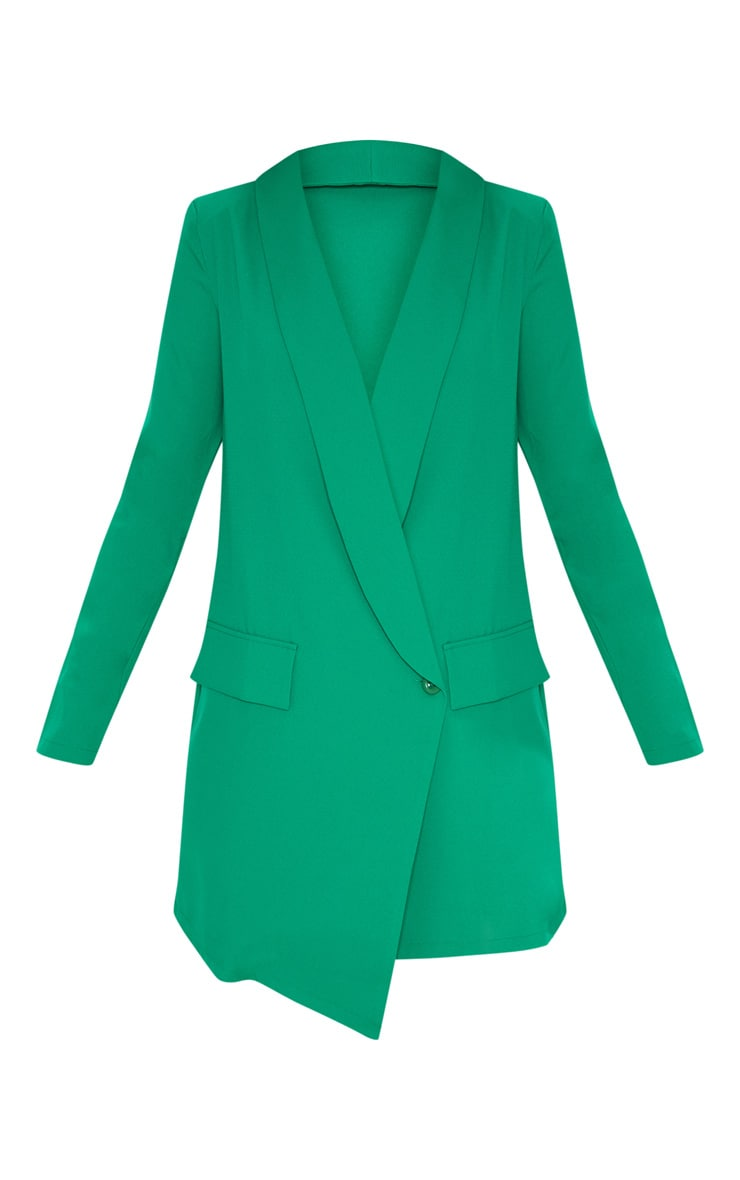 Green Asymmetric Hem Oversized Blazer Dress 3