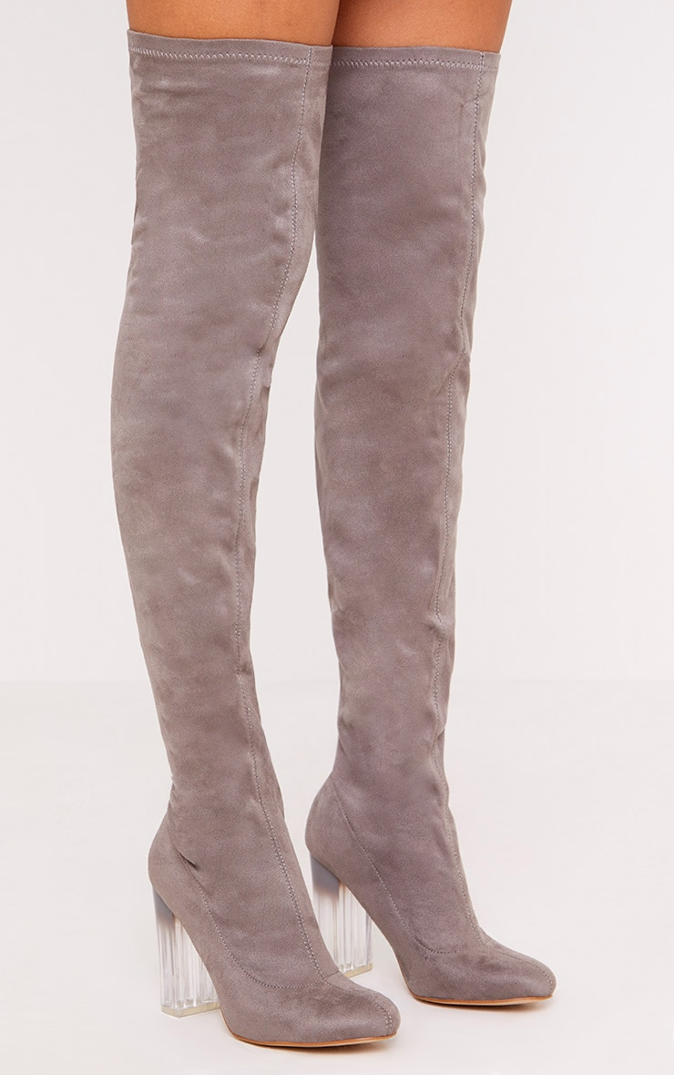 Fran Grey Faux Suede Ombre Heel Over The Knee Boots 1