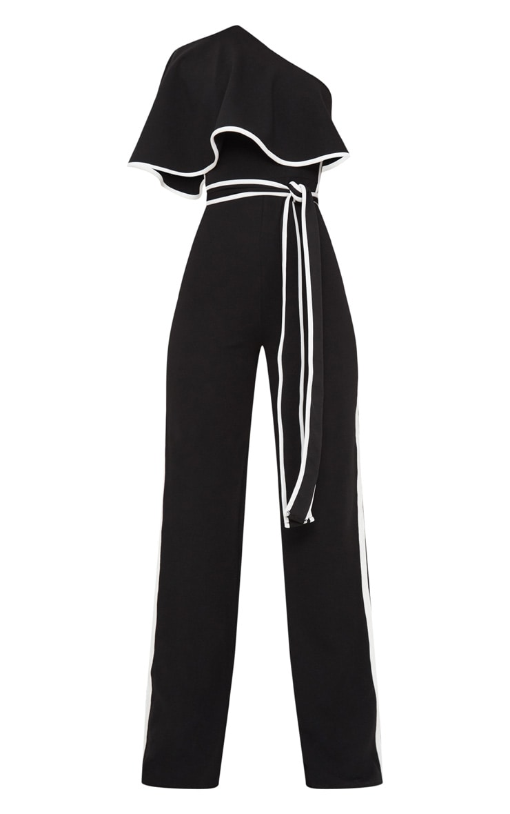 Black One Shoulder Contrast Binding Jumpsuit 3