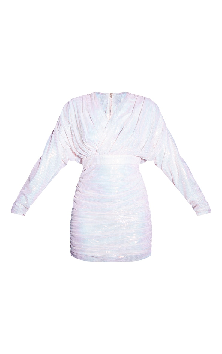 Pink Sequin Wrap Detail Long Sleeve Bodycon Dress 4