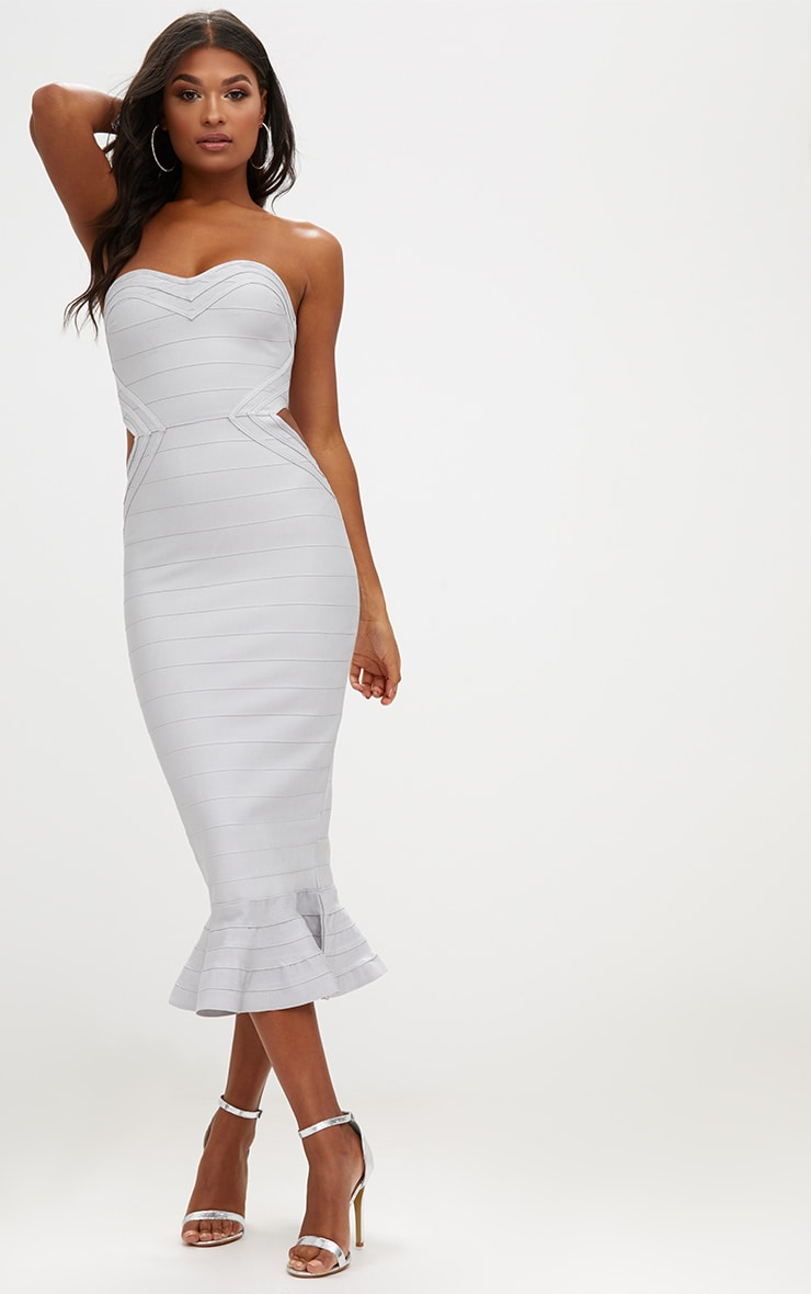 Ice Grey Ribbed Frill Hem Bandage Midi Dress 1